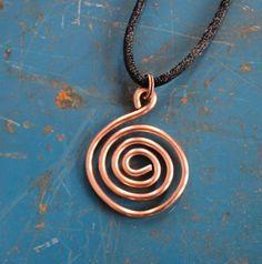 Primitive Symbol Copper Spiral Pendant   JulieKindtStudio - Jewelry on ArtFire