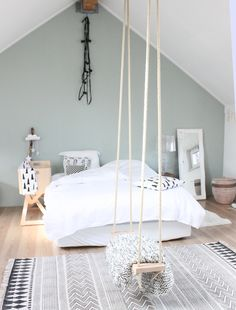 Most Inspirational Teen Girl Bedroom You Need To Know – Home Dekor Bedroom Loft, Dream Bedroom, Home Bedroom, Girls Bedroom, Swing In Bedroom, Bedroom Retreat, Vaulted Ceiling Bedroom, Serene Bedroom, Vaulted Ceilings