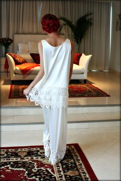Isadora Satin and Lace Pajama Sleepwear Lingerie Bridal Lingerie Elegant Loungewear Wedding Pajama's Sarafina Prima Venise Lace