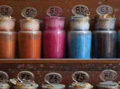 Fortuny's powder pigments, used for his fabrics.