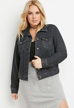 Plus Size Classic Denim Jacket   Forever 21 PLUS - 2000154374