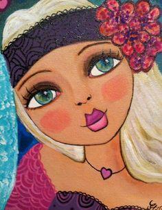 Wal Art, Frida Art, Facebook Art, Art Abstrait, Art Journal Inspiration, Whimsical Art, Portrait Art, Rock Art, Female Art