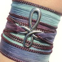 Bohemian Cross Silk Wrap Bracelet Yoga Blue
