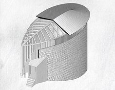 Diagrammatic analysis and digital modeling of Peter Zumthor's St. Benedict Chapel in Simvitg, Switzerland. Peter Zumthor Architecture, Pavilion Architecture, Axonometric View, Drawings, Architectural Models, Sacred Geometry, Entrance, Behance, Farmhouse