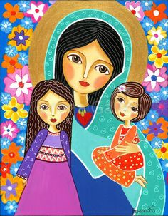 Folk Art  Painting, Virgin Mary with Two Girls, Print  (9x12inches, 23x31cm), Mixed Media, Wall Decore by Evona.