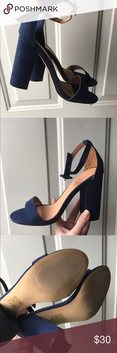 Navy Blue chunky ankle strap pumps  Basically brand new, bought from someone else and said they only wore them once, no visible signs of wear. Love these shoes but I bought a pair similar and don't think I'll be wearing these, size 9 but has some extra room in the back could fit 9.5! Price is not firm Urban Outfitters Shoes Heels