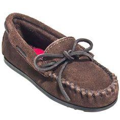 Minnetonka kids 2773 dark brown moc toe leather slippers in Men Moccasins Slippers