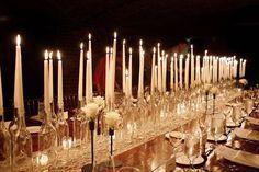 Elegant tablescape of candles | Christmas Buffet Decor | Pinterest