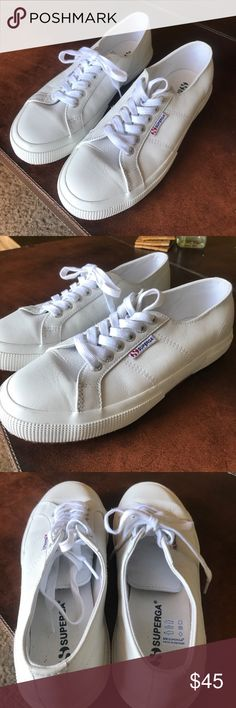 Superga sneakers leather classic❗️✔️ In perfect condition super clean inside and out size 8 women's Superga Shoes Sneakers