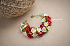 Jewelry Bracelets handmade bracelet floral bracelet daisy bracelet poppy red bracelet daisy and poppy red clay flowers fimo flowers flower jewelry floral jewelry wildflowers jewelry wildflower bracelet