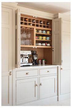 Grey Kitchen Designs, Kitchen Pantry Design, Kitchen Pantry Cabinets, Kitchen Storage, Kitchen Decor, Home Coffee Stations, Coffee Station Kitchen, Craftsman Kitchen, Family Kitchen