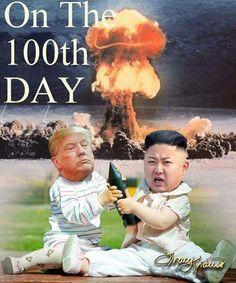 On the Day - Trump & Kim Jung Un nuclear Political Satire, Political Cartoons, Caricatures, Tiny Trump, Cartoon Memes, Best Memes, Just In Case, Decir No, Donald Trump