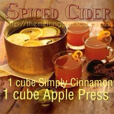 Scentsy recipe: Spiced Cider. Contact me for all of your Scentsy needs! https://aprillong.scentsy.us/