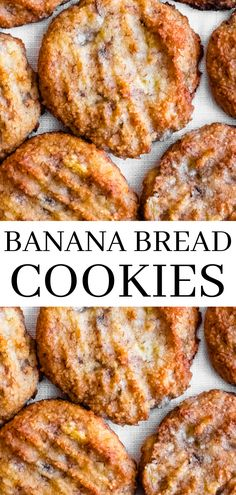 Banana bread cookies are a delicious and healthy treat the whole family will enjoy. These banana bread cookies are gluten free, vegan, paleo, and full of banana flavor - with just a hint of cinnamon. Banana Cookie Recipe, Banana Bread Cookies, Banana Bread Recipes, Cookies Et Biscuits, Healthy Banana Cookies, Gluten Free Vegan Banana Bread, Banana Treats, Banana Snacks, Chip Cookies