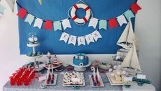 Cumpleaños para un marinero. - blog 6th Birthday Parties, Casino Theme Parties, Party Themes, Party Ideas, Happy Birthday, Fiesta Mickey Mouse, Sailor Theme, Cruise Party, Baby Boy Christening