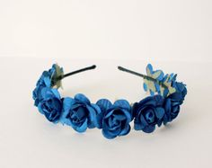 Blue Rose Floral Headband Flower Headband Spring by rosesandlemons, $18.00