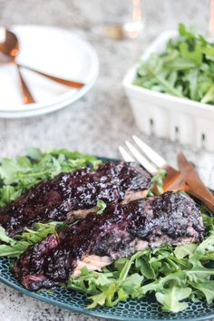 Roasted Salmon with Blueberry BBQ Sauce - This healthy recipe is the ...
