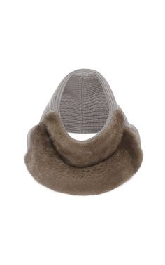 Felted Cashmere Wool Ribbed Cowl Scarf With Mink by Sally LaPointe for Preorder on Moda Operandi
