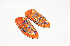 Vintage Moroccan Hane Embroidered Leather by redpoppyvintageshop, $68.00
