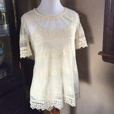 Lace cream top with matching detached tank Lace cream top in a small with matching detached tank Tops Tank Tops