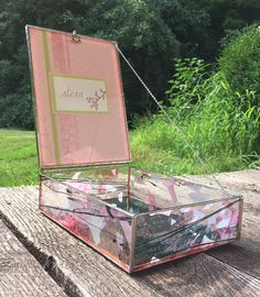stained glass bat mitzvah box with invitation. a great keepsake box.