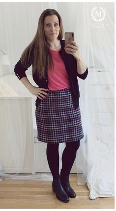 • Skirt: New Look • Top: HM • Cardigan: Dorothy Perkins • Boots: Tamaris Pink Tops, Black Tops, New Look Tops, Putting Outfits Together, Colorful Cakes, Black Cardigan, Cute Shoes, My Wardrobe, Photo And Video