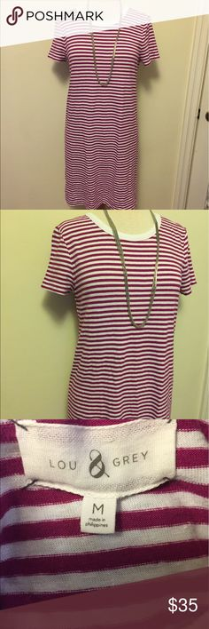Lou and Grey striped tee dress in magenta EUC Lou and grey tee dress! White and magenta striped! Lou & Grey Dresses