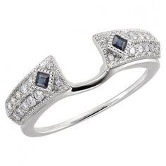 14kt White Gold Center Round Diamond and Sapphire Enhancer (0.25ctw)...(ST63970:60260:P).! Price: $602.99 #gold #diamonds #ringguard #wrap #enhancer #fashion #jewelry #love #gift