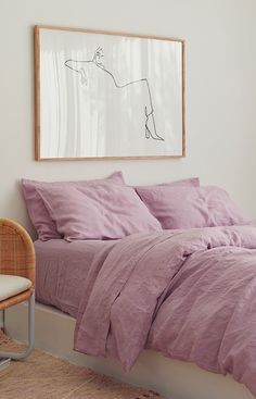 Ultra luxurious pure French linen quilt cover in Lilac Quirky Home Decor, Easy Home Decor, Home Decor Kitchen, Cheap Home Decor, Luxury Homes Interior, Interior Exterior, Interior Design, Interior Colors, Interior Livingroom