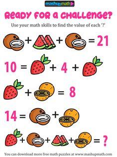Free Math Puzzles for All Ages! Logic Math, Math Quizzes, Math Resources, Math Activities, Math Problem Solving, Math Games, Math Lessons, Math Skills, Math Genius
