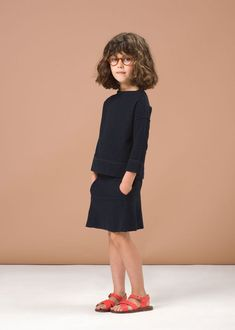 SS'16 Cumin Top & Chilli Pepper Skirt, Navy Textured Fleece, Caramel Baby & Child. via @deuxpardeuxKIDS