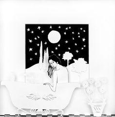 Baño nocturno. Papercut Art. Tati Galiano