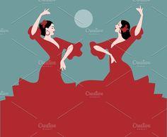 Two Spanish Flamenco Dancers II by La Inspiratriz on @creativemarket