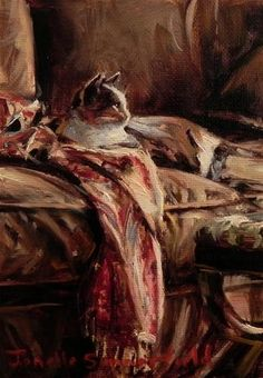 """Daily Paintworks - """"Cat on a Throw"""" by Jonelle Summerfield"""