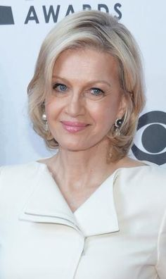 Diane Sawyer has naturally brown hair, but colors her hair blonde - Mike Coppola for Getty