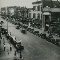 Jefferson City, MO from the 1920's - corner of High St. and Madison St, looking east down High St.