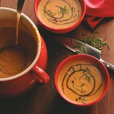 Butternut Squash & Pear Soup Recipe -Pears give this harvest soup a pleasant sweetness and nice velvety finish, while curry and ginger provide delightful flavor. —Sarah C. Vasques, Milford, New Hampshire
