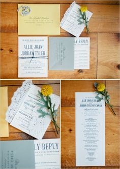 blue, white and yellow wedding stationery by confetti creative co #navy wedding #yellowwedding #weddingchicks http://www.weddingchicks.com/2013/12/26/navy-and-yellow-wedding-2/