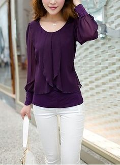 Women Tops 2018 Long Sleeve Women Blouse Shirt Loose Plus Size Chiffon Blouse Purple Blue Women'S Clothing Blusas Top - Outfits for Work Blouse Styles, Blouse Designs, Hijab Styles, Stylish Dresses, Fashion Dresses, Dressy Outfits, Magazine Mode, Shirts & Tops, Women's Tops
