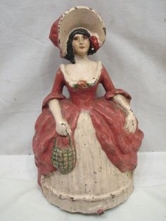 Vintage Cast Iron Lady Door Stop Figural Doorstop Southern Belle Colonial Woman