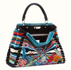 Fendi Regular Peekaboo Handbag in Multicolored Fur & Black Leather