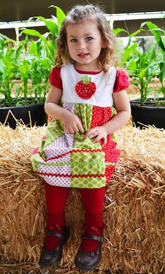 strawberry dress...need to buy a pattern (could use any basic jumper, yoked pattern) ...but  tut shows how to make strawberry and paneled skirt....