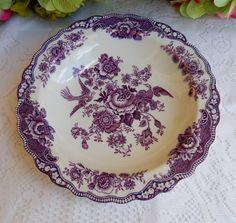 Beautiful Vintage Crown Ducal Porcelain Soup Bowl Bristol Mulberry Birds Flowers #CrownDucal