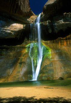 Calf Creek Falls, Utah. Look like water falling from the heavens.