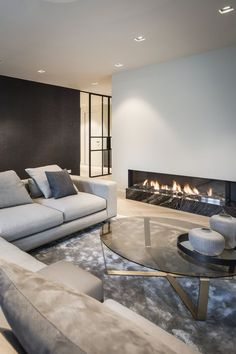 Newly built home designed by KABAZ architects and stylists. - Newly built home designed by KABAZ architects and stylists. The client& wish was an interior - Living Room Interior, Home Living Room, Home Interior Design, Living Room Designs, Living Room Decor, Interior Design Magazine, Fireplace Design, Living Room Lighting, Living Room Inspiration