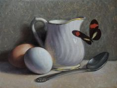"Daily Paintworks - ""Eggs, Creamer and Butterfly"" - Original Fine Art for Sale - © Debra Becks Cooper"