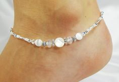 Anklet Ankle Bracelet White Mother of Pearl by ABeadApartJewelry, $13.00
