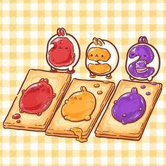 딸기맛,사과맛,포도맛.무슨맛이 제일 맛있을까나~몰랑이모양으로 잼을 뿅 찍어봤어요. illust by. 나비랑