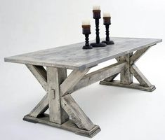 If you are purchasing a dining table built up of wood, then make sure that it's composed of solid wood. A dining table makes you truly feel comfortable by giving a warm atmosphere to you and your visitors. Farmhouse Furniture, Farmhouse Table, Rustic Furniture, Home Furniture, Cabinet Furniture, Rustic Table, Wood Table, Rustic Wood, Trestle Table