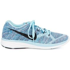 Nike Flyknit Lunar 3 Sneakers (2 265 ZAR) ❤ liked on Polyvore featuring shoes, sneakers, blue, nike sneakers, blue sneakers, nike trainers, round cap and laced up shoes
